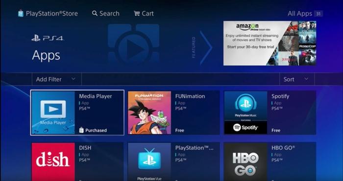 برنامه های داخلی PS4 PRO